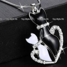 CHRISTMAS GIFTS FOR HER  Twin Crystals Cats Necklace Women Girls Daughter Mum K8