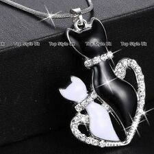 Cat Pendant Silver Necklace Chain Animal Jewelry Gifts for Her Daughter Wife C3
