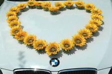 SONNEN BLUMEN KOPFE Auto Schmuck Braut Paar Rose Deko Dekoration Hochzeit