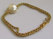 Secondhand 18ct Yellow Gold Pearl Multi Diamond Twin Rope Bracelet (6 3/4inches)