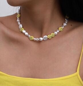 New 2021 Trendy Fashion Smiley Face Bead Pearl Necklace
