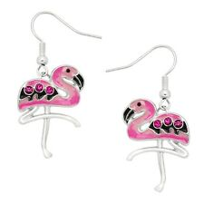 Pink Flamingo Fashionable Earrings - Hand Painted - Fish Hook -Sparkling Crystal