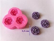 3er Rosen Mould Blumen Silikon Form Fondant Marzipan Tortendeko Ausstecher SC24