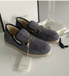 NEW Authentic Gucci Men's Fria Loafer Espadrille Wool 10 / 10.5 US