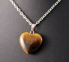 Tiger Eye Small Heart Pendant Necklace w/Free Jewelry Box and Shipping
