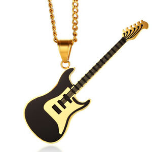 Herren Goldkette mit Gitarren-Anhänger E-Gitarre schwarz gold Edelstahl Schmuck