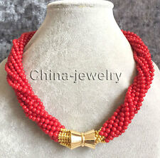 """P7704 - 18"""" 10row 4-5mm perfect round red coral necklace - magnet clasp"""