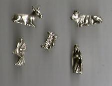 1 nativita' in metallo argentato  1,5 cm   5 elementi, nativita presepe shepherd