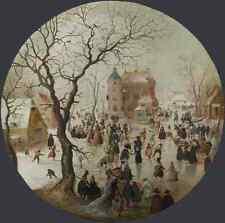 Hendrick Avercamp A Winter Scene With Skaters Near A Castle A4 Print