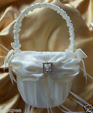 FLOWER GIRL BASKET WEDDING ivory satin square heart diamantes crystals baskets