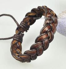 Brown Surfer Vintage Leather Hemp Braid Bracelet Cuff D