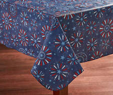 "Patriotic Tablecloth Vinyl Table cover fireworks 52"" x 52"" PICNIC  USA Fast Ship"