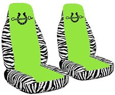 2 Front Cowgirl's Lucky Horseshoe Velvet Seat Covers with 17 Color Options