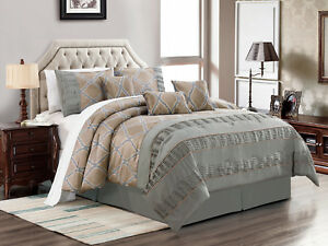 7-Pc Frieda Jacquard Trellis Pleated Satin Comforter Set Taupe Gray Silver Queen