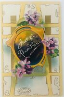 Vintage Just for Remembrance Embossed Postcard Violets Friendship