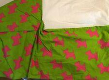 Little Missmatched Green Pink Scottie Dog Twin Bed Skirt Dust Ruffle Miss Vguc