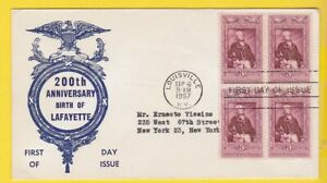 MARQUIS DE LAFAYETTE #1010 BLOCK US FIRST DAY COVER 1952 UNKNOWN CACHET FD