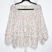 Denim & Supply Ralph Lauren White Floral Boho Blouse Womens Size XL