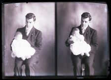 ANTIQUE GLASS NEGATIVE, FC PHILPOT, LIMERICK ME, MAN AND BABY TWO VIEWS