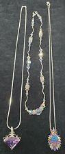 """Peridot Necklaces-16 to 20"""" (3) Vintage Sterling Druzy,Amethyst,Aurora Borealis"""