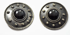 Shield Domed Earrings 37mm Clip On Sterling Ts-74 Mexico Taxco Round Black Onyx