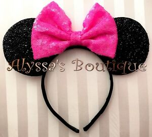 NEW Minnie Mouse Ears Headband Sparkly Black Cotton Candy Pink Sequin Bow PARTY