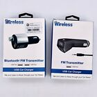 Lot Of 2 Just Wireless FM Transmitter USB Car Charger - Black (1 Bluetooth)