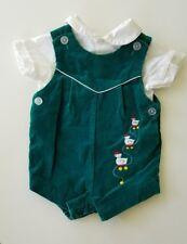 Vintage Green Velvet Overalls w/White Shirt~Embroidered Ducks 3-6 Months Boys