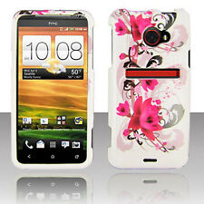 For HTC EVO 4G LTE HARD Protector Case Snap On Phone Cover White Purple Flowers