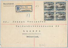 51799  - COOK ISLANDS -  POSTAL HISTORY - REGISTERED COVER to SWITZERLAND 1936