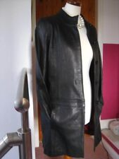 Ladies M&S black real leather COAT UK 12 10 trench goth red lining long line