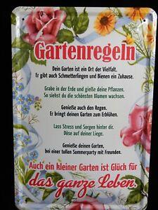 Blechschild Gartenarfbeit Gartenregeln Garten Glück Leben  Unkraut  20 x  30