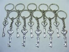 10 x Love Heart Key Lucky Charm Keyrings - Wholesale Job Lot Bulk Buy UK