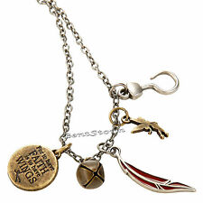 Disney PETER PAN TINKER BELL 5 Interchangeable Multi Charm Pendant Necklace new