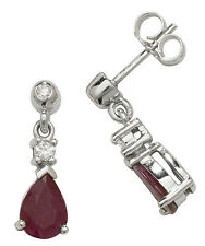 Ruby and Diamond Earrings White Gold Drops Appraisal Certificate