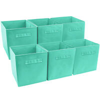 Set of 6 Foldable Fabric Basket Bin Collapsible Storage Cube for Nursery, Toys
