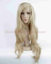 Women Sexy Long Wavy curly Blonde Natural Hair full wigs Cosplay Party Wigs+Cap