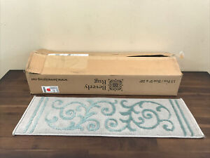 """Beverly Rug Step tread Stair  13 Staircase Carpet Teal Gray 9""""x28"""" New"""