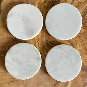 Set of 4 Solid White Round Marble Coasters - Factory Rejected Stock - 10cmDia