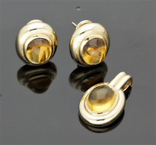 VINTAGE 14CT GOLD AMBER EARRINGS & PENDANT SET