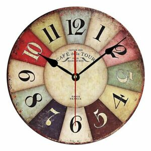 Wall Clock Wooden Design Vintage Antique Style Home Cafe Decoration Retro Watch