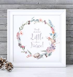 """Though She Be But Little She is Fierce"" Print - Nursery or Girls Room Print"