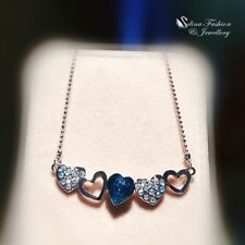 18K White Gold GF Made With Swarovski Crystal Aquamarine Heart Cluster Necklace