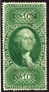1865 US SC R101c, $50 Green Washington, Used w/ Manuscript Cancel XF Revenue