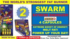 2X STACKER 2 SWARM EXTREME ENERGIZER FAT BURNER INCREASE STAMINA 4CT(8 Capsules)