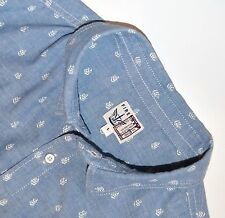 FIRETRAP Size L Chambray Blue & White 100% Cotton Short Sleeved Casual Shirt