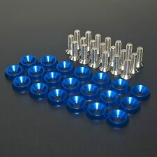 20 PC BLUE JDM BILLET ALUMINUM FENDER/BUMPER WASHER/BOLT ENGINE BAY DRESS UP KI