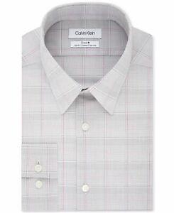 Calvin Klein Mens Dress Shirt Gray Size 17 1/2 Plaid Printed Slim Fit $79- 427