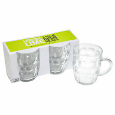 2 x Glass Beer Mug with Handle Bar Clear Mugs Party 530ml