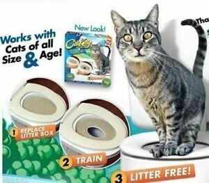 Pet Kitty Cat Toilet Training Seat Litter Tray Kit Potty Train System Kitten UK
